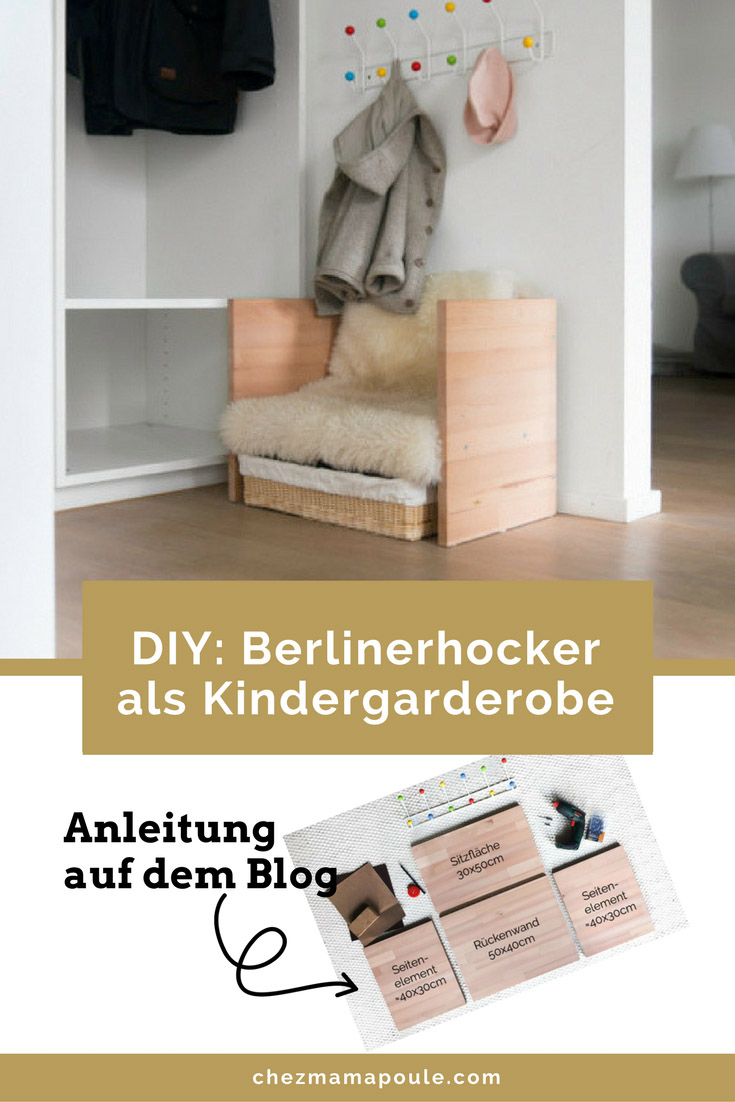 Kindergarderobe mit Berlinerhocker www.chezmamapoule.com