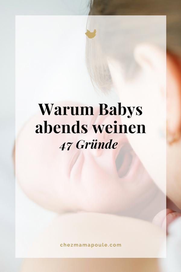 Warum Babys abends weinen: Zahnt es? Hat es Hunger? Will es abgehalten werden? Clusterfeeding, müde, überreizt oder einfach nur Kommunikation. Gründe für das abendliche Weinen gibt es sehr viele. Wir zeigen eine - nicht immer ganz ernst gemeinte - Auswahl: