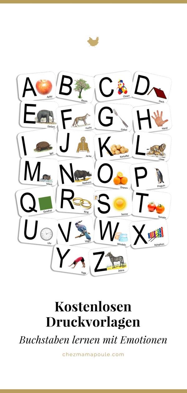DIY-Spielidee: Erste Buchstaben lernen mit Emotionen und individuellen Karten. Für Kindergarten, Grundschule, Vorschulge, Kita und Kleinkinder zu Hause (inkl. kostenlosen Druckvorlagen zum Ausdrucken) und ein paar Gedanken zur Sprache lernen, Lesen lernen und Schreiben lernen bei kleinen Kindern aus Sicht von Montessori www.chezmamapoule.com