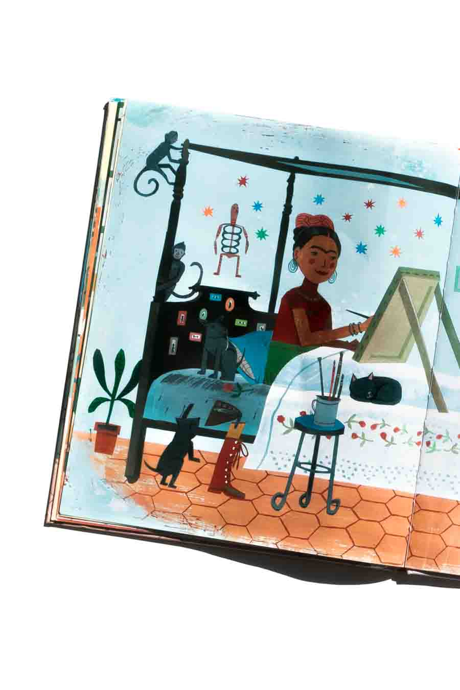Frida Kahlo und ihre Tiere von Monica Brown. Bücher über starke Mädchen. Bilderbücher ohne Sexismus und Genderismus. Kinderbücher mit Feminismus und Gleichstellung. Blick ins Buch auf: www.chezmamapoule.com