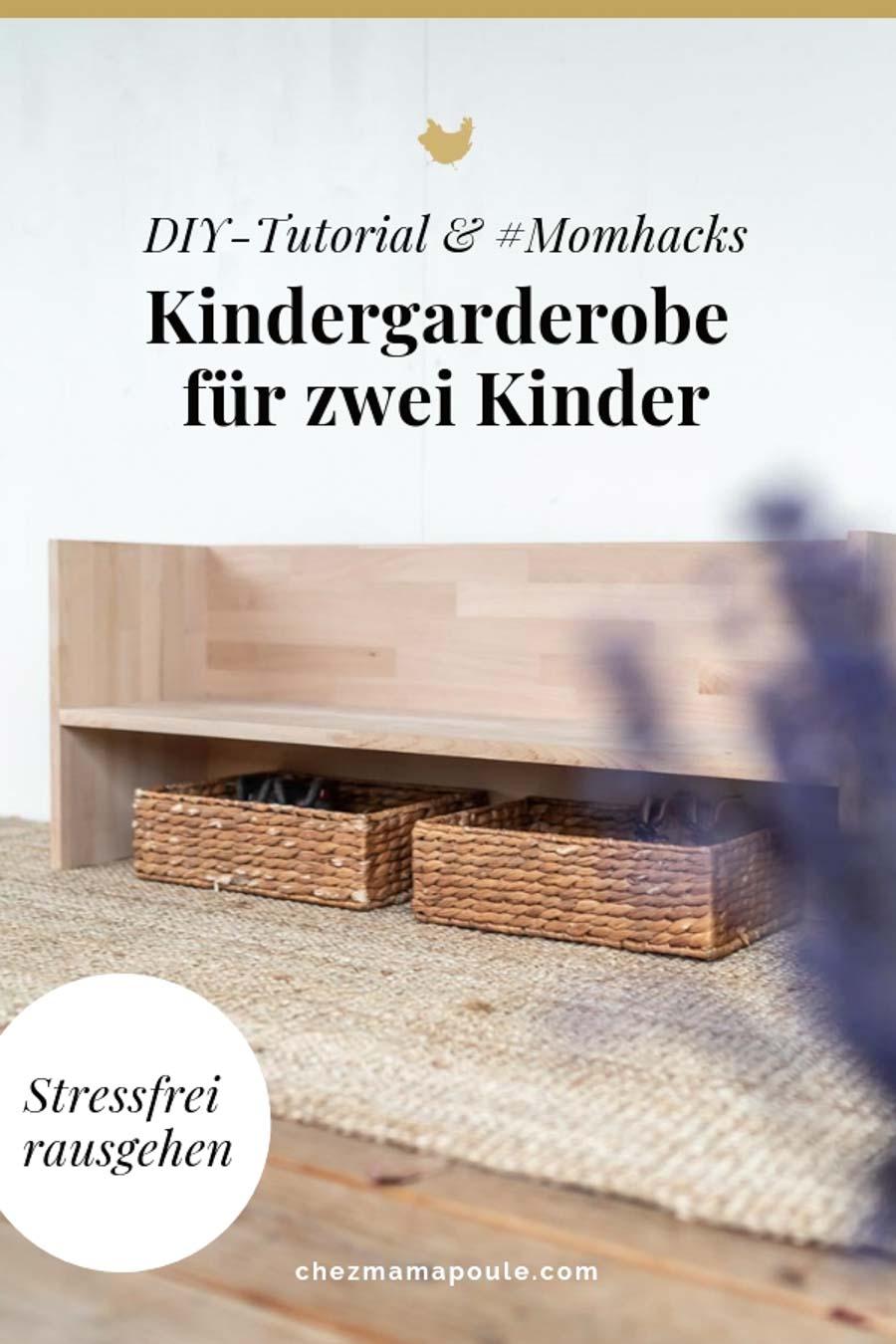 Raus in 5 Min? Und zwar ohne Stress? Diese Kindergarderobe hilft kleinen Kindern, sich selbständig anzuziehen. Momhacks zum Alltag mit zwei Kindern und ein DIY-Tutorial für die Garderobe & Garderobenleiste gibt es bei: www.chezmamapoule.com #diy #berlinerhocker #flur #selbermachen #holz #wenigplatz #diyidee #möbel