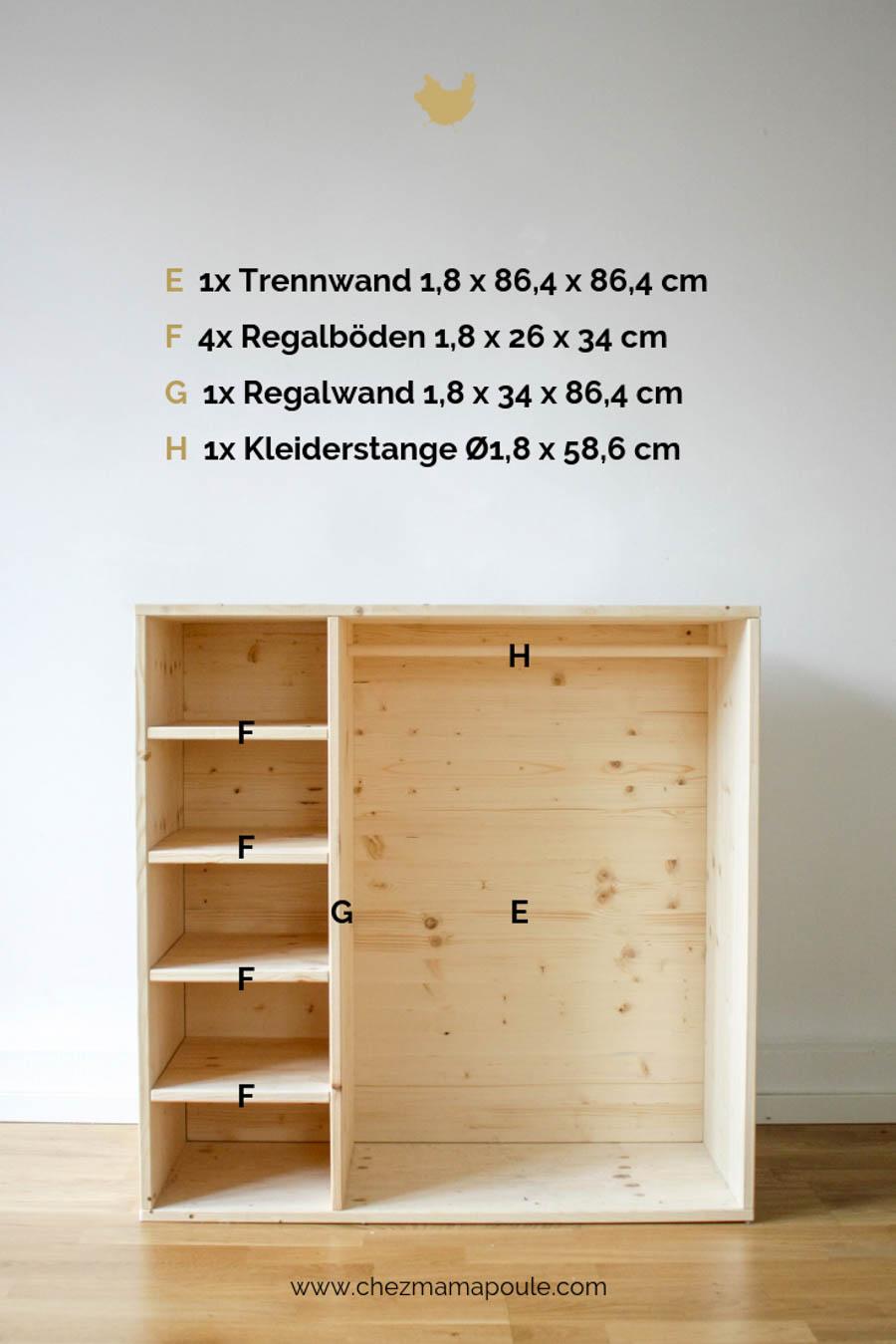 DIY Möbel: Kleiderschrank für Kinder, dieses Holz brauchts um Möbel selber zu machen und ein Montessori Kinderzimmer einrichten.