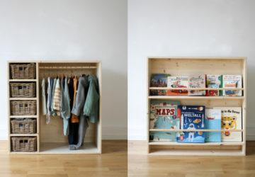 DIY Kindermöbel: Zwei in einem Regal: Kleiderschrank und Bücherregal für Kinder für ein Montessori Kinderzimmer. Möbel selber machen und ein Kinderzimmer einrichten für Kleinkinder (ca. 2. Jahre) #diy #selbermachen #holz #wenigplatz #diyidee #möbel