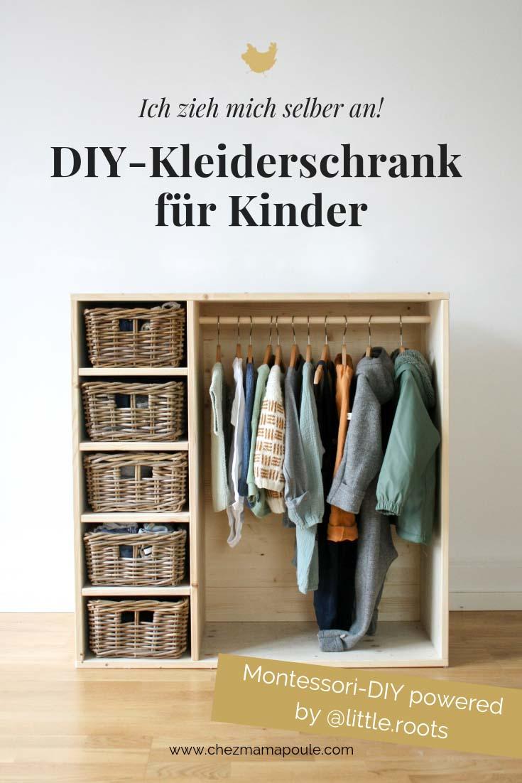 Kleiderschrank nach Montessori selbermachen: Ein 2-in-1- Kindermöbel das gleichzeitig ein Bücherregal UND ein Kleiderschrank ist. Und alles auf Kinderhöhe präsentiert. Für ein Montessori Kinderzimmer für Kleinkinder (ab ca. 2. Jahre) #diy #selbermachen #holz #wenigplatz #diyidee #möbel