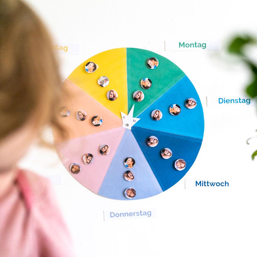 Wochenplan Kleinkind mit bunten Farben und Tagbeschriftungen
