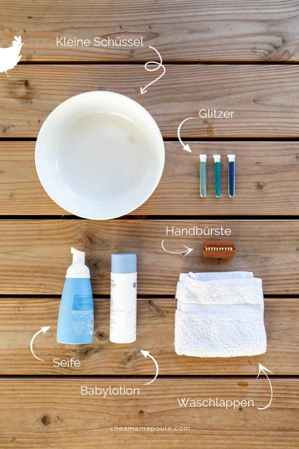 Händewaschen Kinder: Schüssel, Glitzer, Handbürste, Seife und Lotion