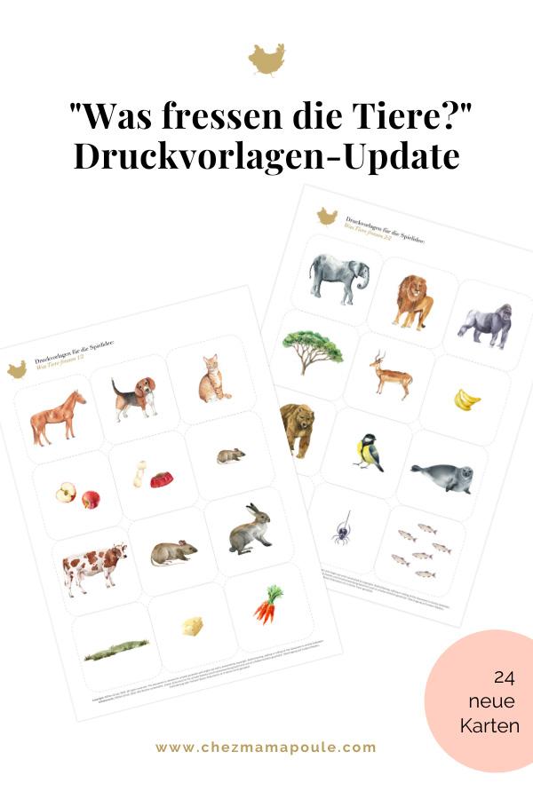 Was fressen die Tiere? Druckvorlagen für Kinder / Spielidee nach Montessori