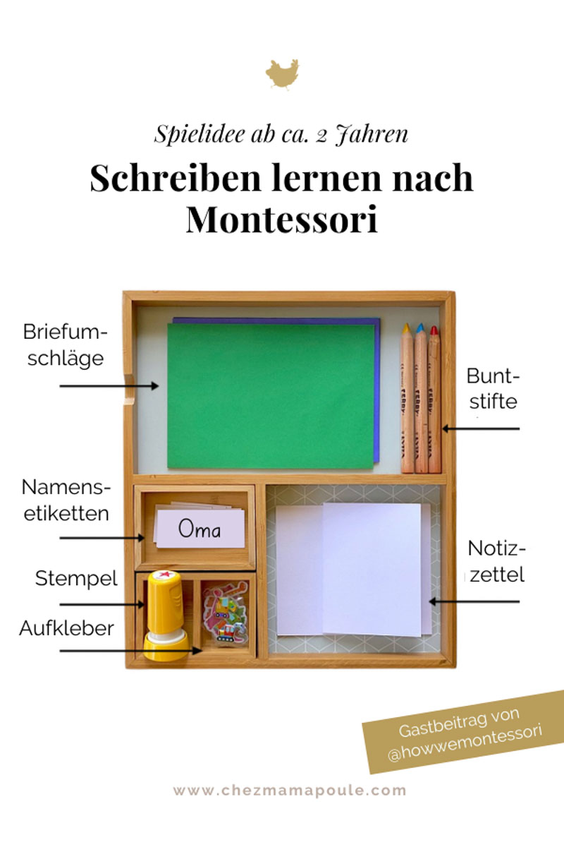 Schreiben lernen nach Montessori: Spielidee ab ca. 2 Jahren